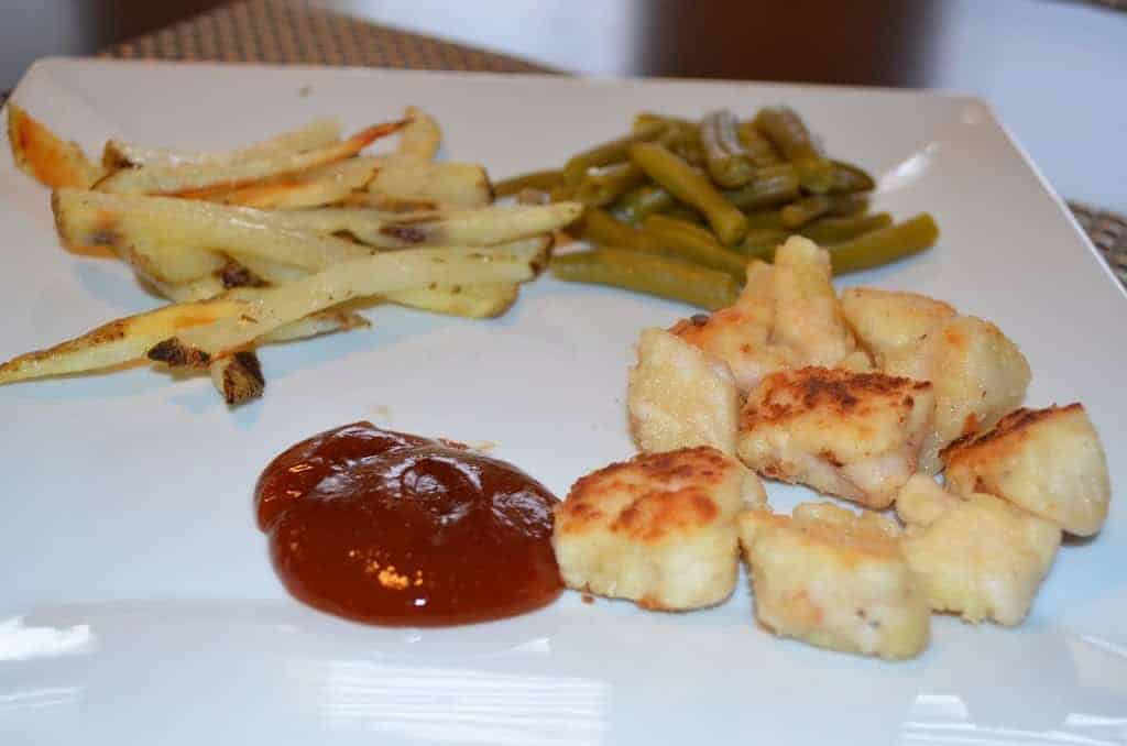 Chick-Fil-A Copy Cat Nuggets with Imitation Smash Fries and Green Beans
