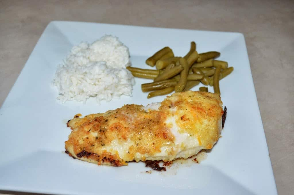 Parmesan Crusted Mayo Chicken with Rice and Green Beans