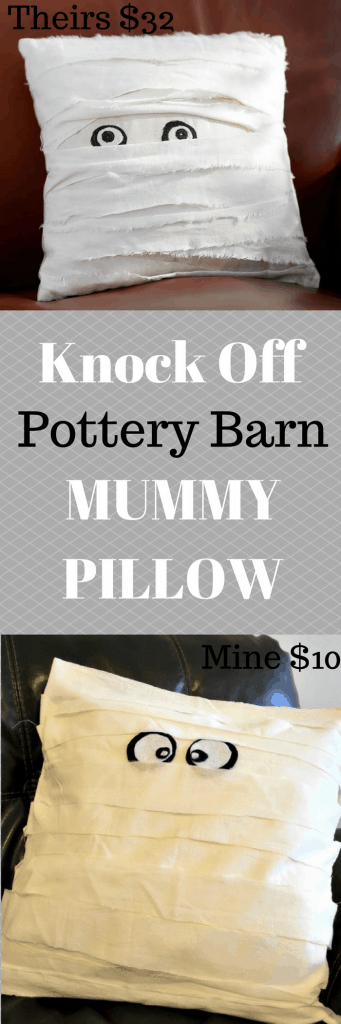 No Sew Knock Off Pottery Barn Mummy Pillow | Tastefully Frugal