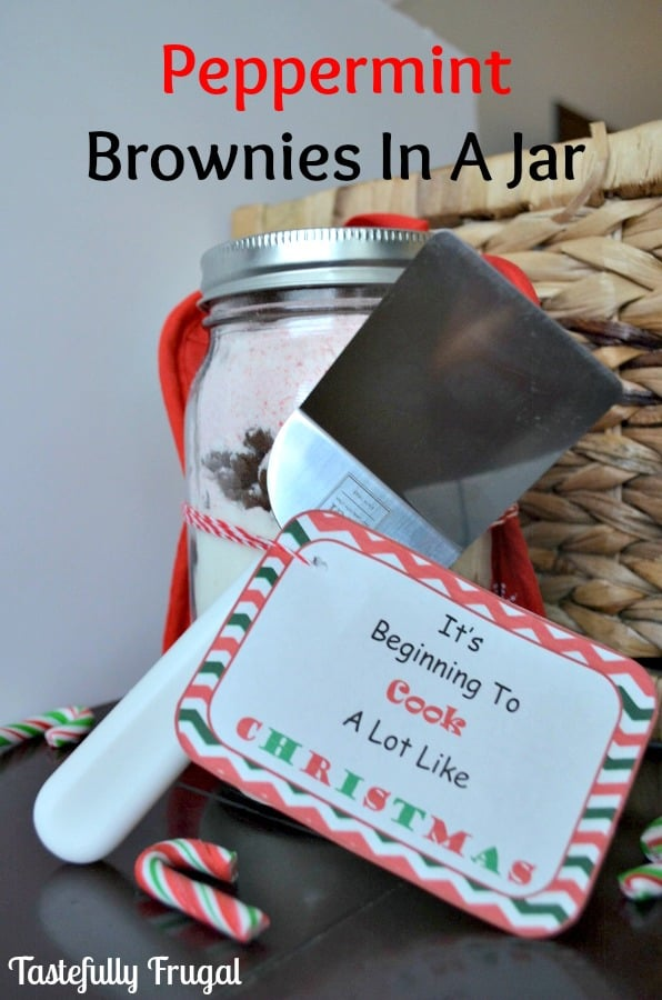It's Beginning To Cook A Lot Like Christmas: Peppermint Brownies In A Jar. 12 Frugal Days of Chistmas Gifts
