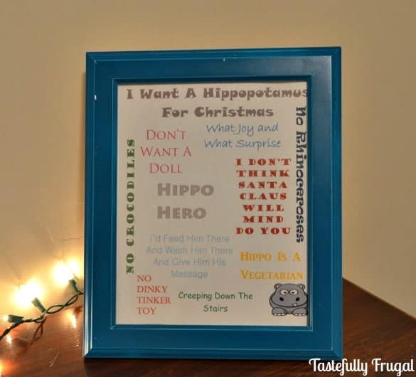 I Want A Hippopotamus For Christmas FREE Printable