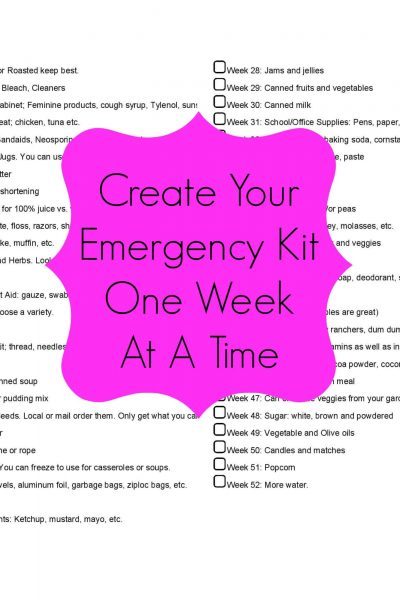 Create Your Emergency Kit One Week At A Time