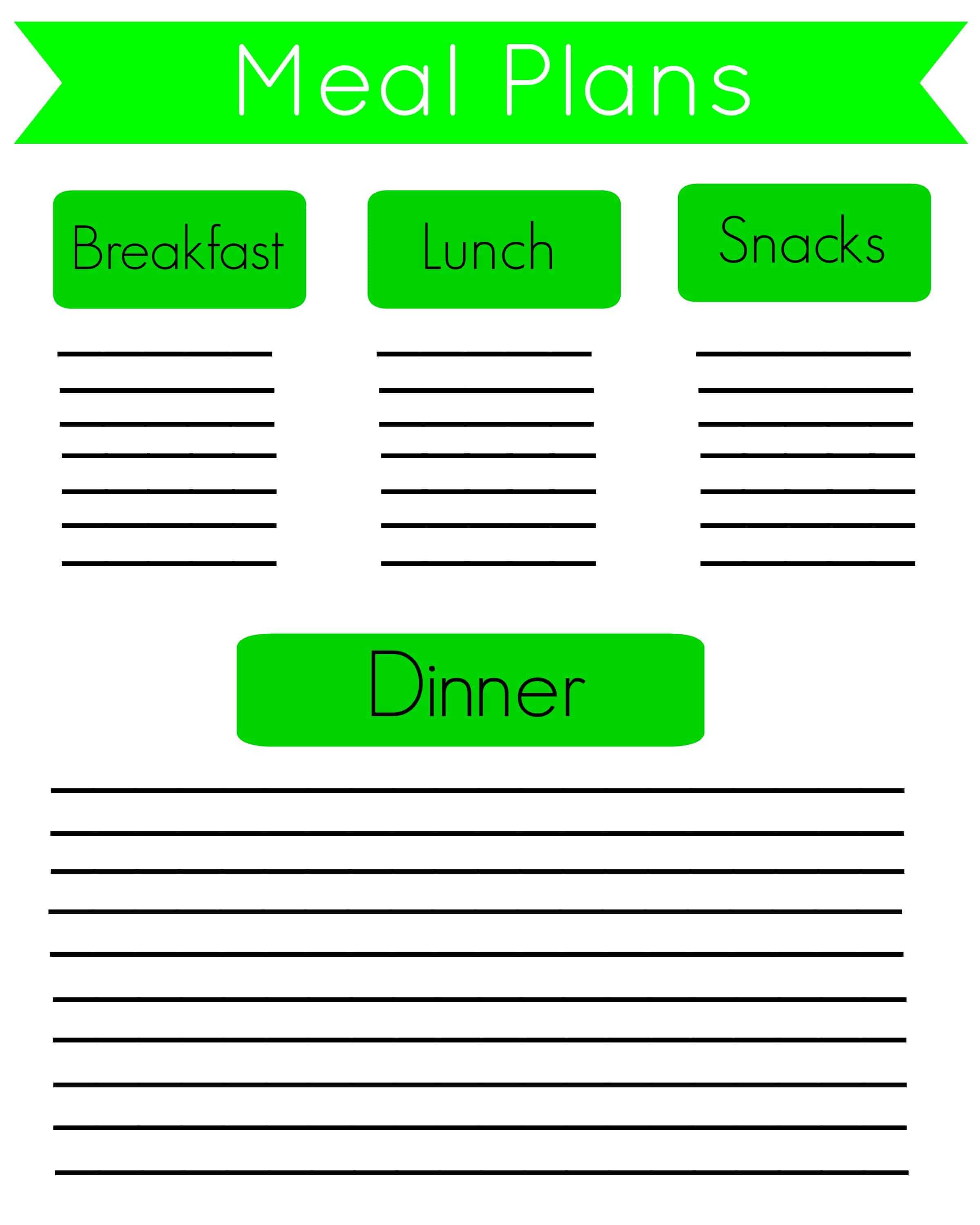 picture regarding Free Meal Planning Printable called No cost Supper Software Printables and 2 Months of Food stuff