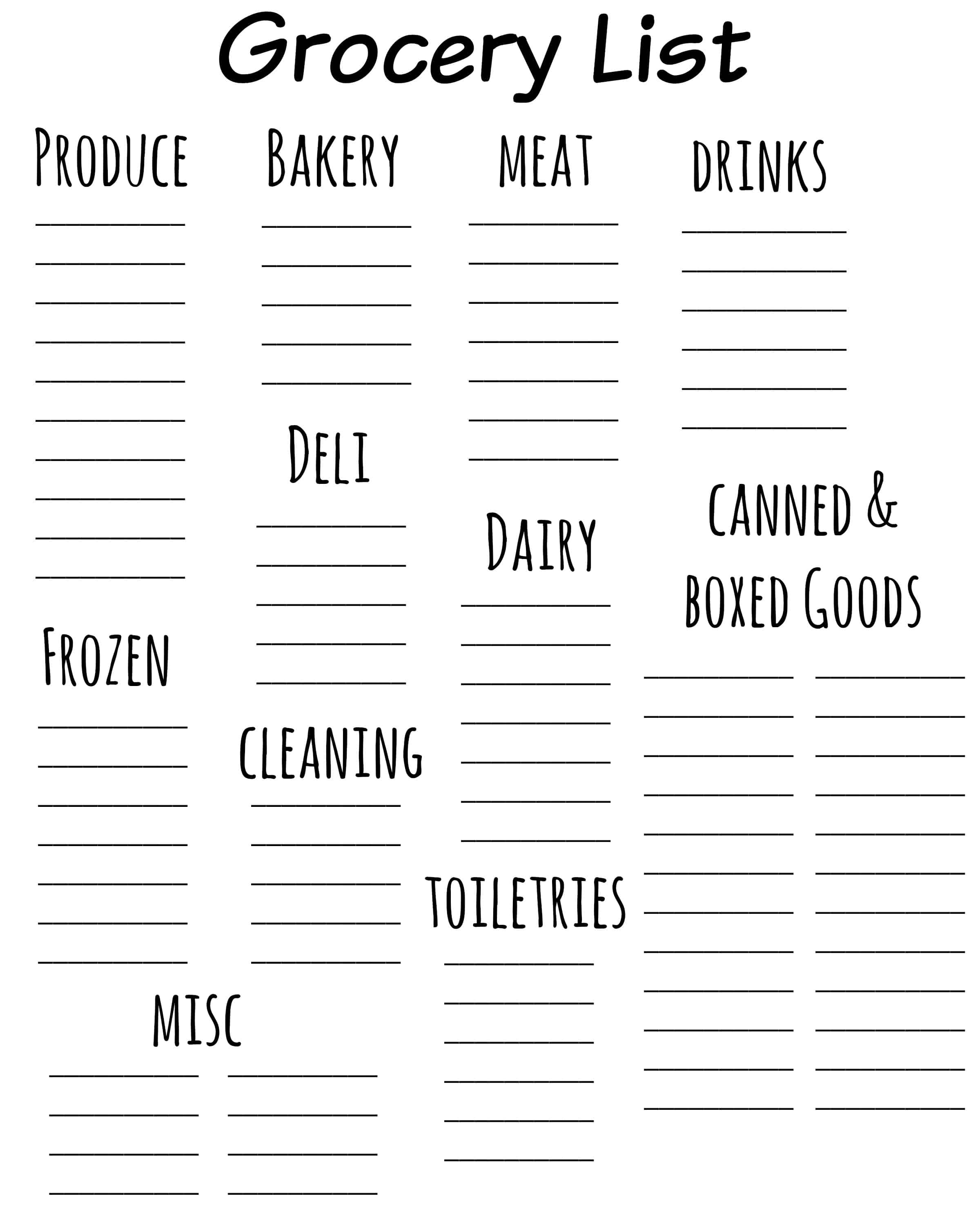 Printable Grocery List Templates  Printable Grocery List Template Free