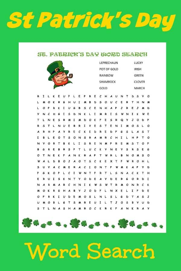 Superb image throughout st patrick's day word search printable
