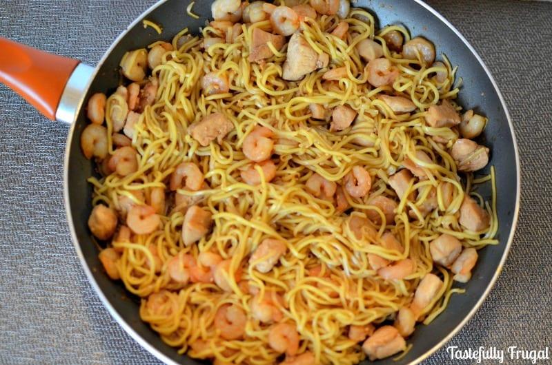 15 Minute Chicken & Shrimp Chow Mein - Tastefully Frugal
