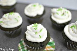 Green Velvet Cupcakes: Moist, chocolate cupcakes with light & fluffy whipped cream frosting