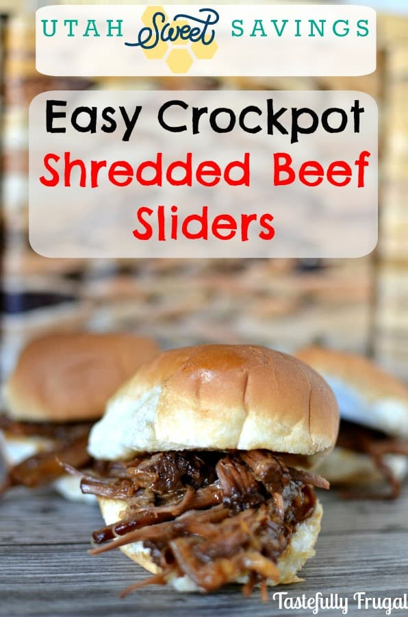 Easy Crockpot Shredded Beef Sliders: This 4 ingredient dinner takes less than 2 minutes to throw together and will have everyone asking for seconds.