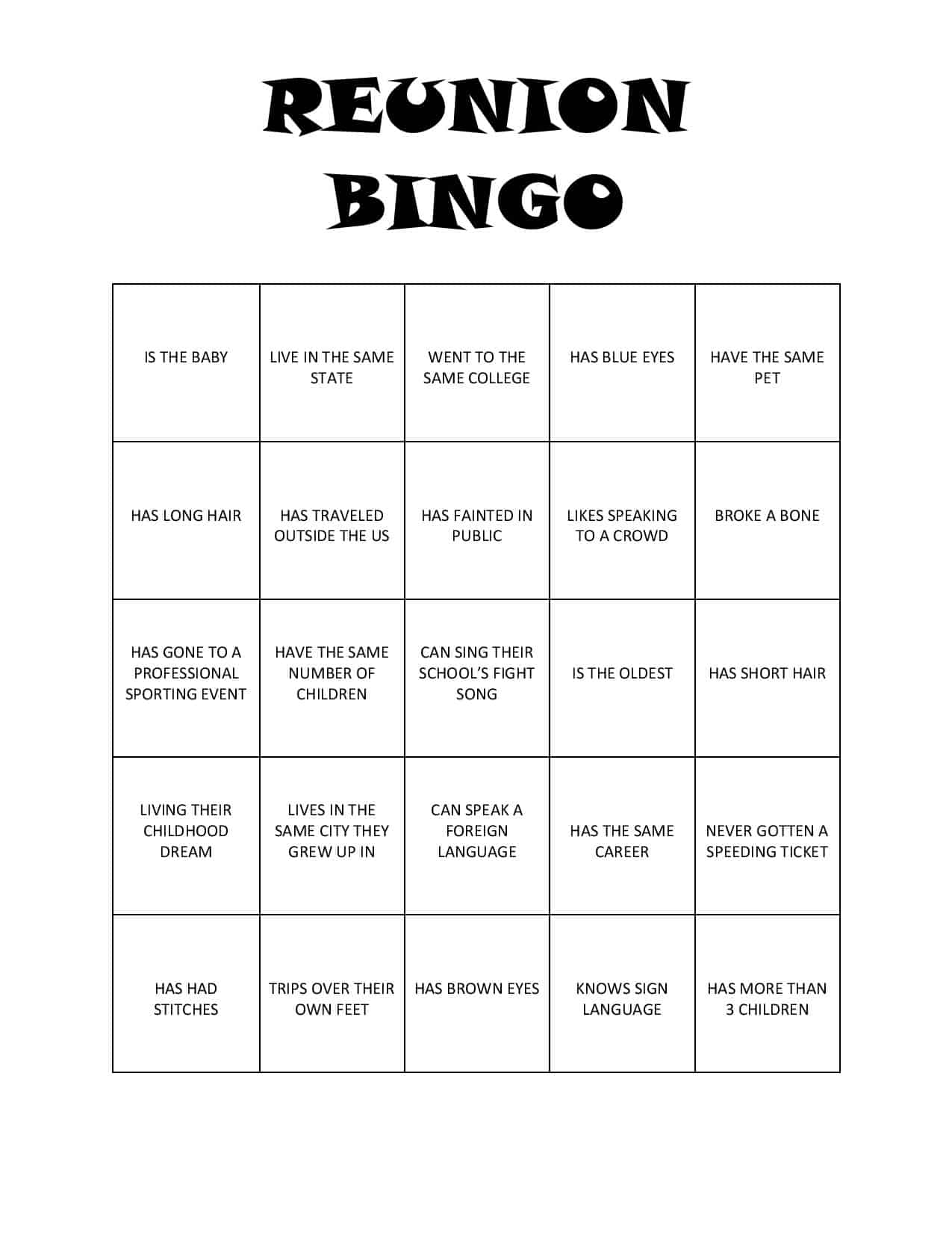 Print This Bingo Game For Your Next Reunion For Loads Of Fun And To Get To  Free Printable Family Reunion Templates