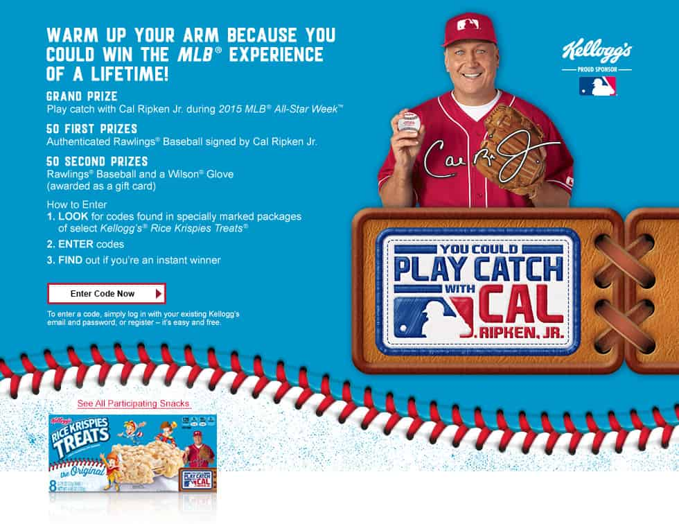 Buy specially marked packs of  Kellogg's® Rice Krispies Treats® for a chance to play catch with Cal Ripken Jr. #GetKreative #ad
