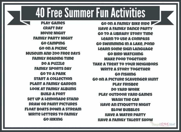 40 Free Summer Fun Activities