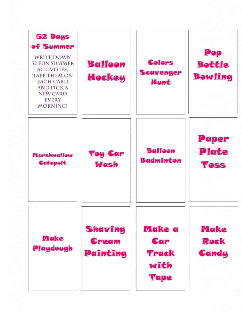 52 Days of Summer Free Printables