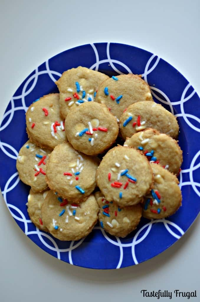 Red White & Blue Coconut Chocolate Chip Cookies www.tastefullyfrugal.org