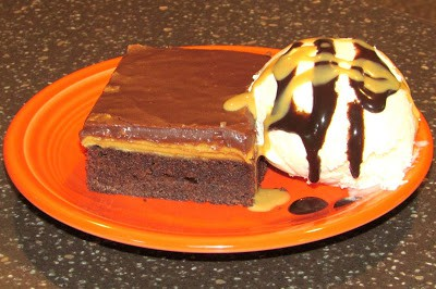 Chocolate PB cake and ice cream