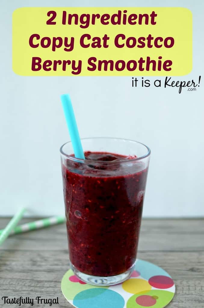 Copy Cat Costco Berry Smoothie {2 Ingredients} www.tastefullyfrugal.org