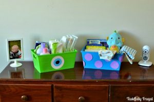 $1 DIY Monsters Inc. Storage Bins www.tastefullyfrugal.org AD #MagicBabyMoments #CollectiveBias @Walmart