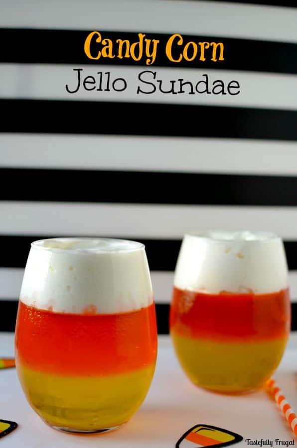 Candy Corn Jello Sundae | tastefullyfrugal.org