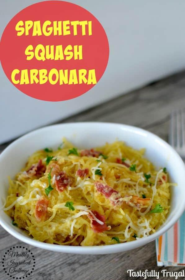 Spaghetti Squash Carbonara www.tastefullyfrugal.org