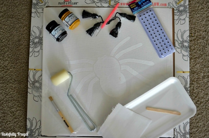 Glow In The Dark Spider Pillow | Day 12 of Tastefully Frugal's 13 Frightfully Fun Days of Halloween