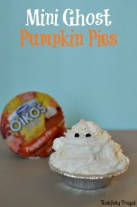 Mini Ghost Pumpkin Pies | Day 4 of Tastefully Frugal's 13 Frightfully Fun Days of Halloween ad #EffortlessPies #CollectiveBias @realreddiwip @dannonoikos