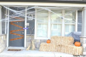 Affordable Halloween Front Porch Decorating | Day 5 of Tastefully Frugal's 13 Frightfully Fun Days of Halloween