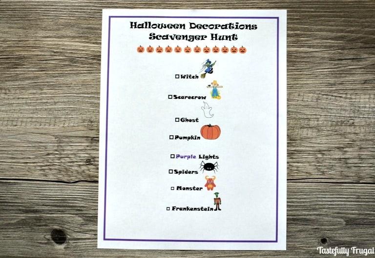 Halloween Scavenger Hunt   Day 8 of Tastefully Frugal's 13 Frightfully Fun Days of Halloween