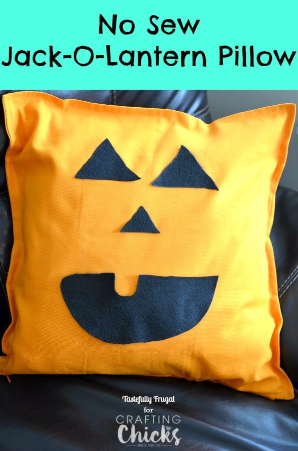 No Sew Jack-O-Lantern Pillow | Day 9 of Tastefully Frugal's 13 Frightfully Fun Days of Halloween