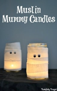 Muslin Mummy Candles | Day 6 of Tastefully Frugal's 13 Frightfully Fun Days of Halloween