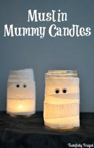 Muslin Mummy Candles | Day 6 of Tastefully Frugal's 13 Frightfully Fun Days of Halloween