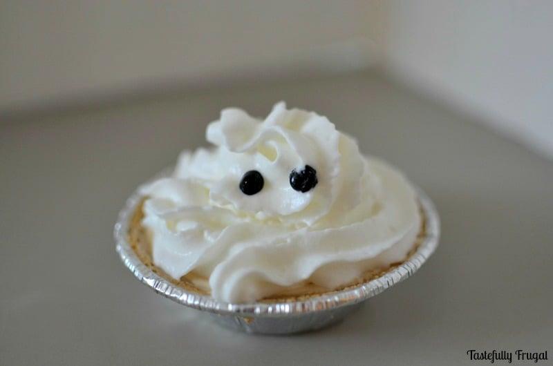 Mini Ghost Pumpkin Pies   Day 4 of Tastefully Frugal's 13 Frightfully Fun Days of Halloween ad #EffortlessPies #CollectiveBias @realreddiwip @dannonoikos