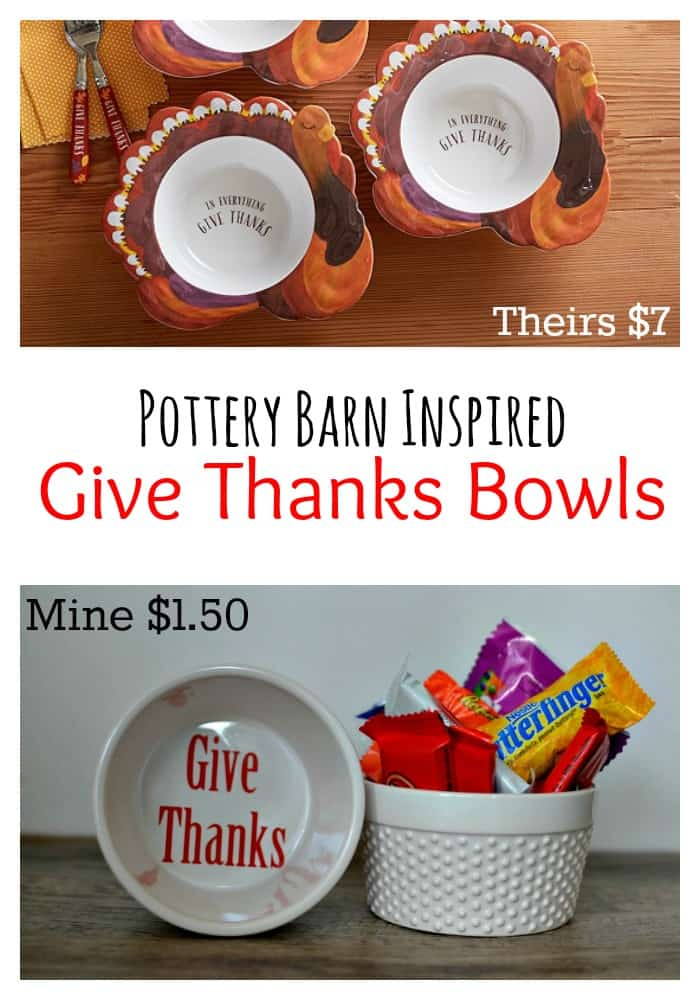 Pottery Barn Inspired Give Thanks Bowls | Tastefully Frugal