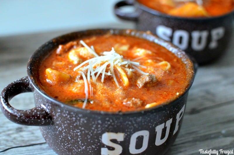 One Pot Lasagna Soup: Make in 30 Minutes  Tastefully Frugal #ad #Ragu #SimmeredInTradition