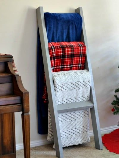 Easy DIY Blanket Ladder | Tastefully Frugal ad #BIGSeason #BigLots #CollectiveBias @BigLots