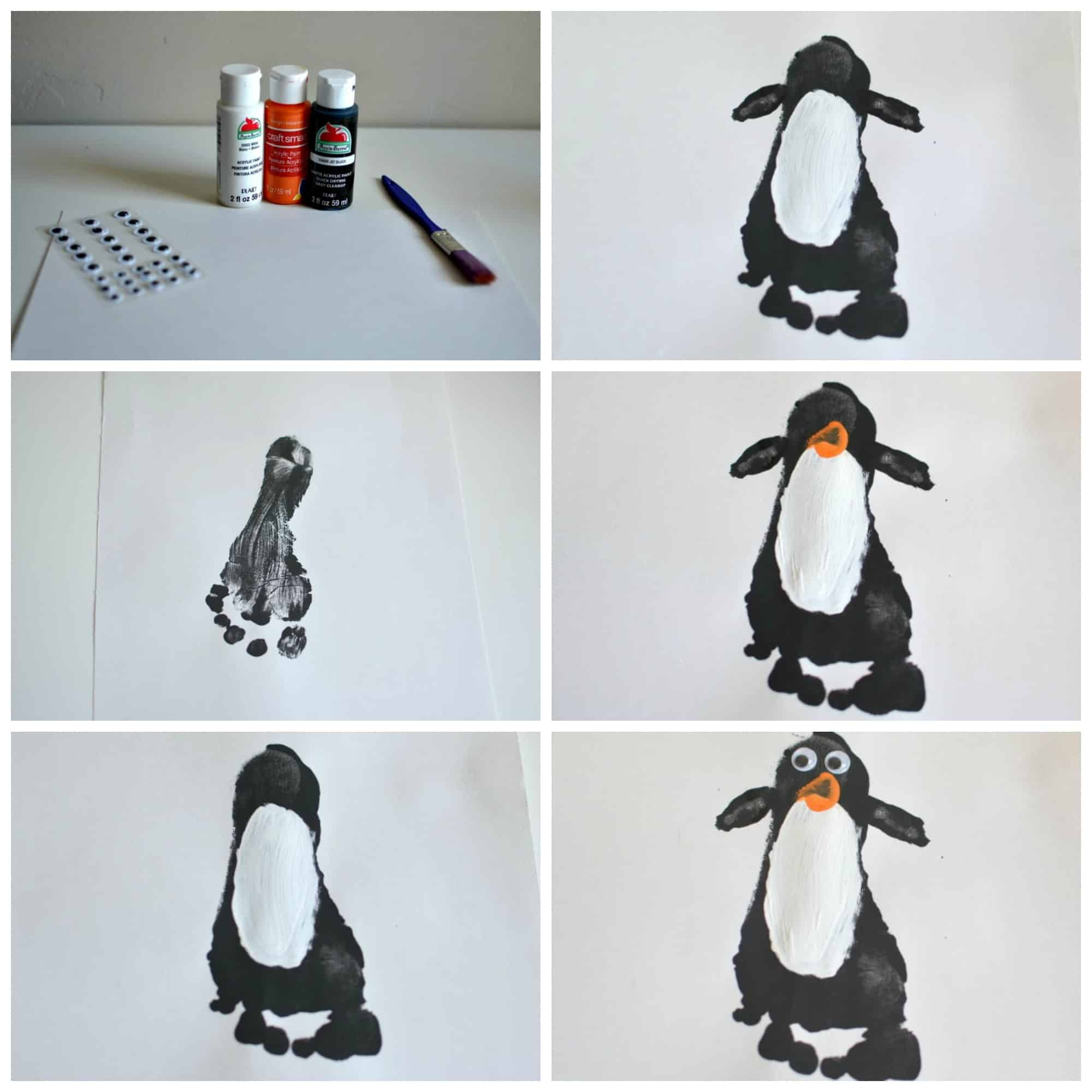 5 Winter Crafts For Toddlers Penguin Footprint Art