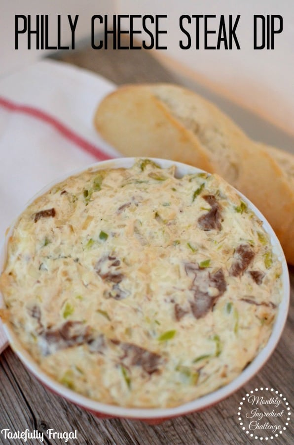 Wow your guests with this easy 25 minute Philly Cheese Steak Dip | Tastefully Frugal