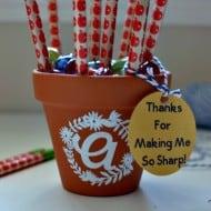Initial Pencil Pot Teacher Gift