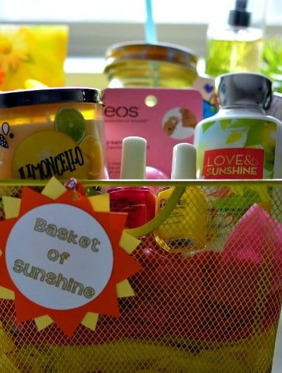 Basket of Sunshine: Brighten someone's day with this fun gift basket | Tastefully Frugal