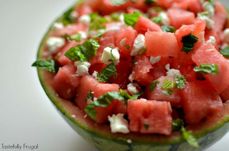 Watermelon Mint Feta Salad: The perfect addition to any lunch or dinner that can be made in less than 5 minutes   Tastefully Frugal