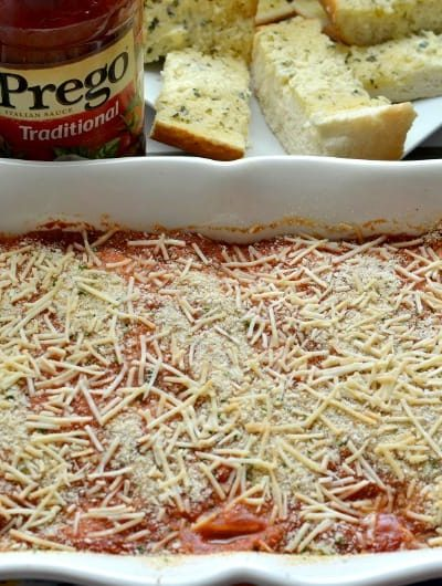 30 Minute Chicken Parmesan Casserole: With just 5 ingredients this is the perfect meal for busy nights | Tastefully Frugal