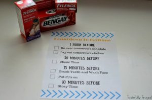 #ad 5 Ways To Ease Back Into A Nighttime Rountine + FREE Countdown To Bedtime Printable   Tastefully Frugal #PositivelyPrepared #BackToSchool