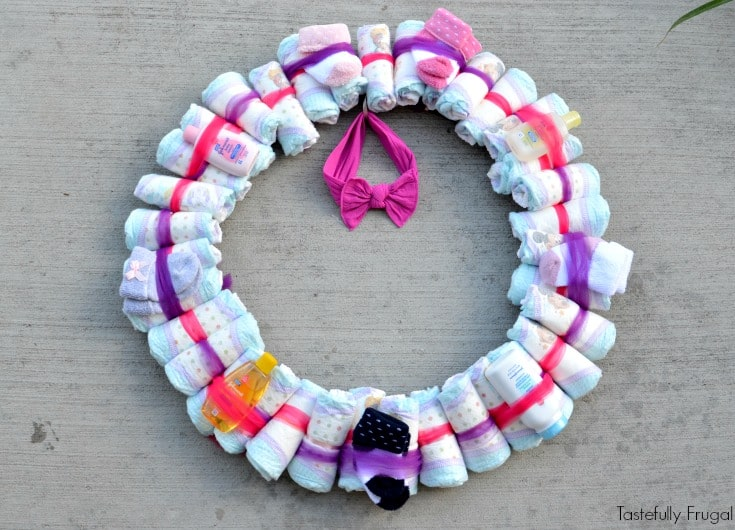 DIY Diaper Wreath Baby Shower Gift