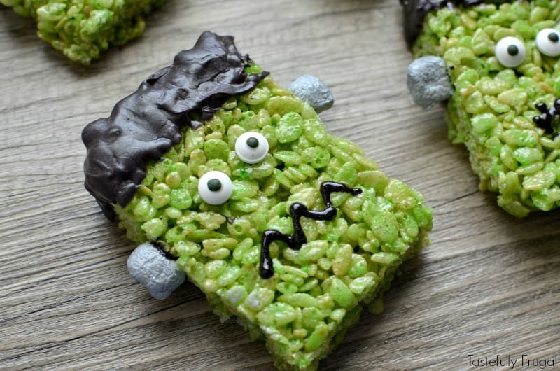 frankenstein rice krispie treats the perfect addition to any halloween gathering tastefully frugal