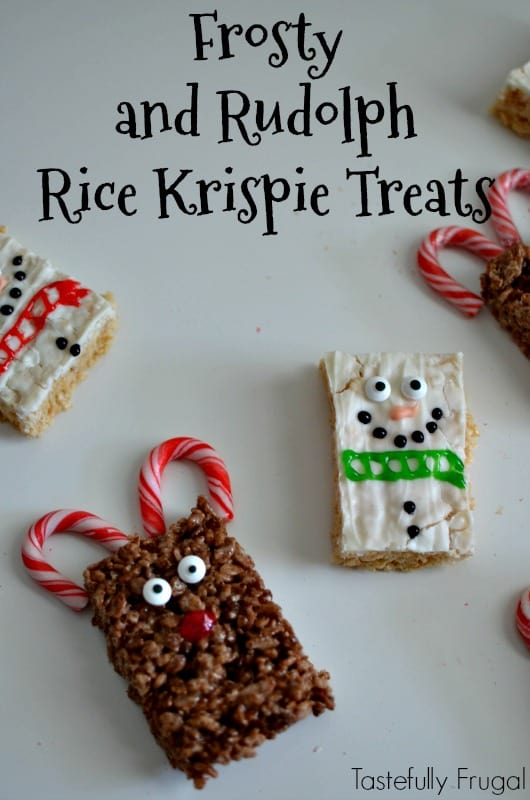Frosty & Rudolph Rice Krispie Treats: Festive Holiday Treats Made In Minutes AD #TidingsandTreats