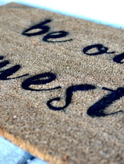 DIY Beauty & The Beast Inspired Stenciled Doormat: Make your own doormat in less than an hour with the Cricut Explore Air #ad