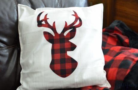 Buffalo Plaid No Sew Reindeer Pillow With The Cricut Maker