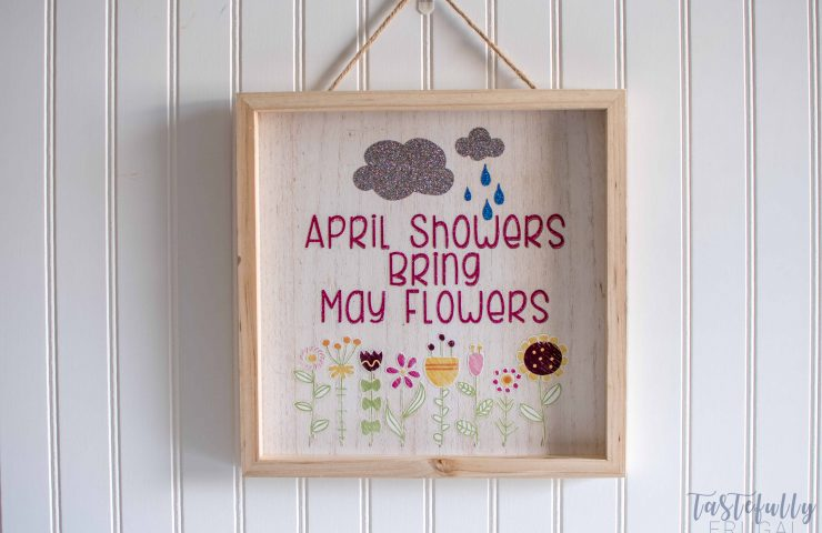 April Showers Bring May Flowers Wood Sign With Iron On Vinyl