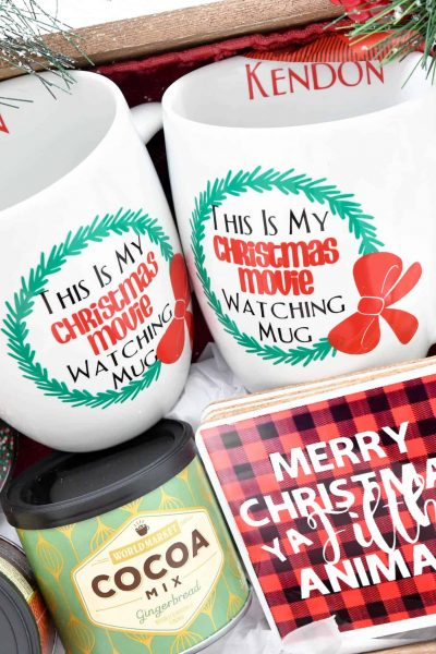 Create a gift basket for anyone who loves Christmas Movies with Cricut! #ad #cricutcreated