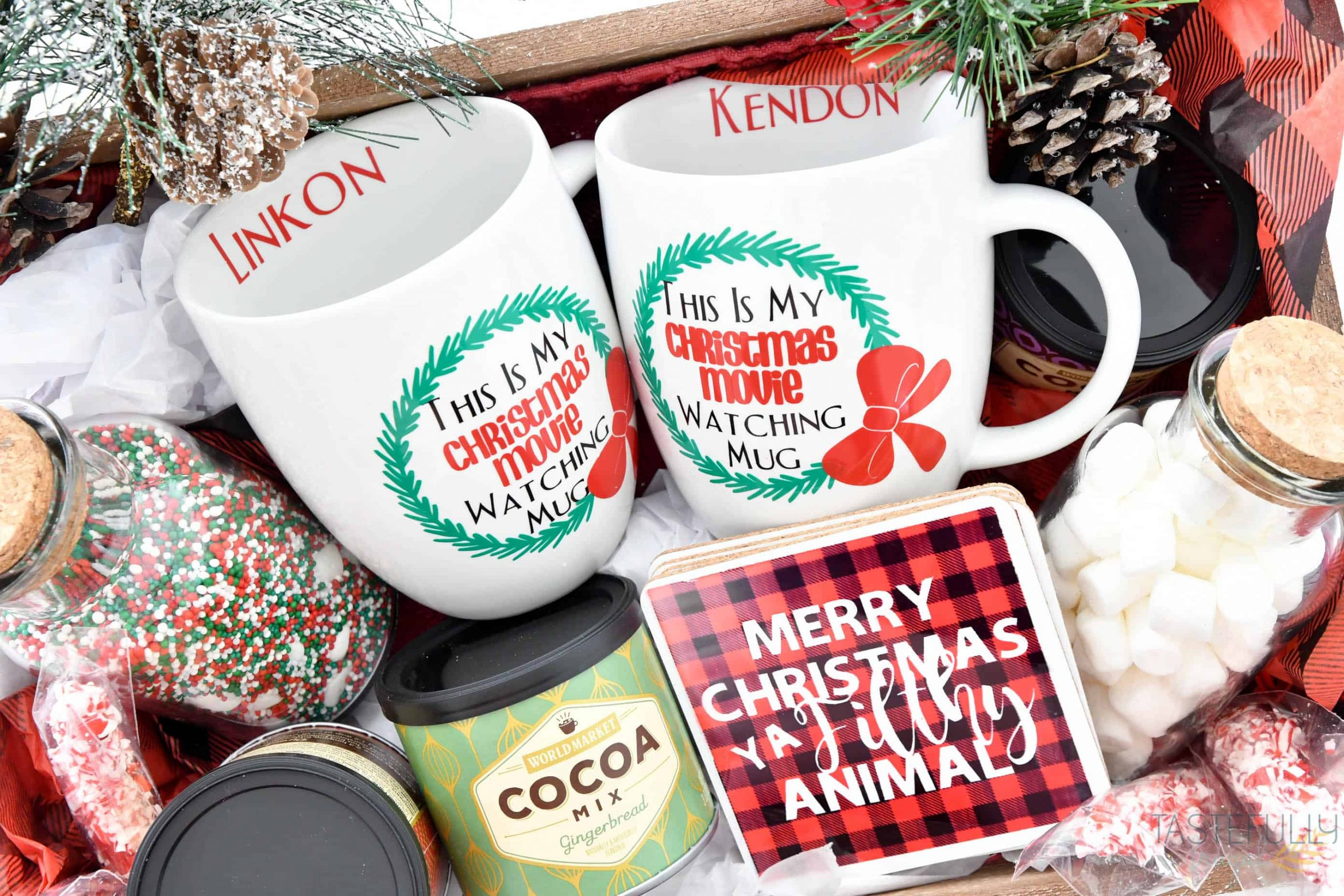 Personalized Christmas Gift Basket With Cricut Explore Air 2 Tastefully Frugal